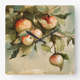 Vintage Apples on a Branch Square Wall Clock
