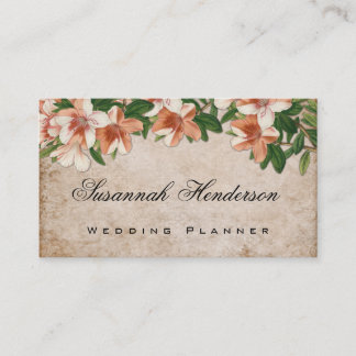 Vintage Apricot Lilies Floral Wedding Planner Business Card