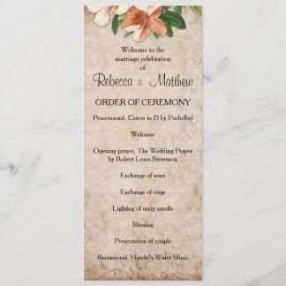 Vintage Apricot Lilies Wedding Program