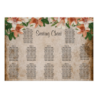 Vintage Apricot Lilies Wedding Reception Seating Poster