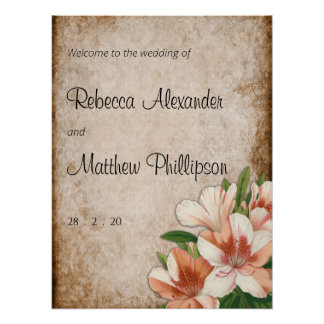 Vintage Apricot Lilies Wedding Welcome Poster