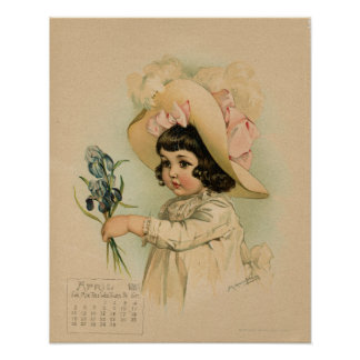 Vintage April 1891 beautiful children drawing Poster