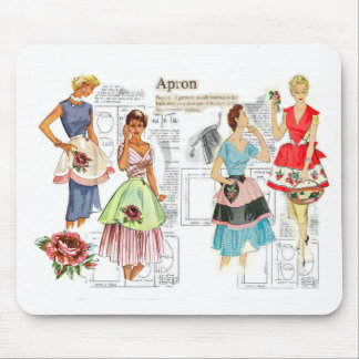 Vintage Apron Sewing Pattern Mouse Pad