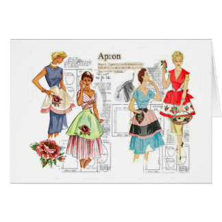 Vintage Apron Sewing Pattern Note Card