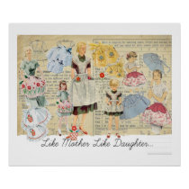 Vintage Apron Sewing Pattern Poster art