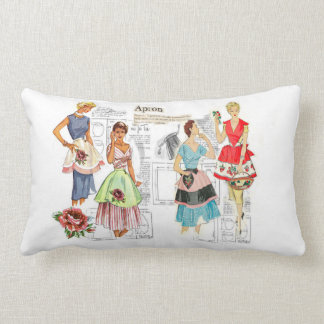 Vintage Apron Sewing Pattern Toss Pillow