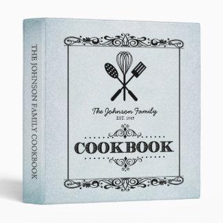 Vintage Aqua Aged Paper Family Cookbook Binder