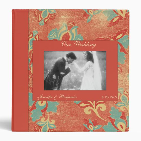 Vintage Aqua and Tangerine Wedding Binder