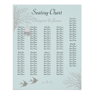 Vintage Aqua Birdcage Branch Swallow Seating Chart Posters