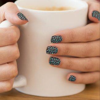 Vintage Aqua Black White Design Minx Nails