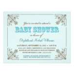Vintage Aqua Blue Baby Shower Invitation