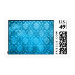 Vintage Aqua Blue Damask Stamps