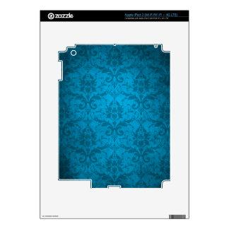 Vintage Aqua Blue Damask Wallpaper iPad 3 Decal