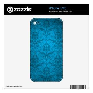 Vintage Aqua Blue Damask Wallpaper iPhone 4 Skins