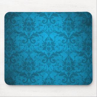Vintage Aqua Blue Damask Wallpaper Mousepads