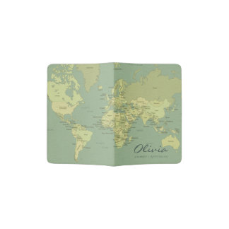 VINTAGE AQUA BLUE GREEN WORLD MAP LEATHER MONOGRAM PASSPORT HOLDER