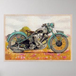 Vintage Aqua Blue Motorcycle Print