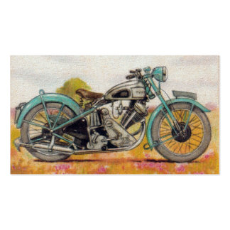 Vintage Aqua Blue Motorcycle Print Double-Sided Standard Business Cards (Pack Of 100)