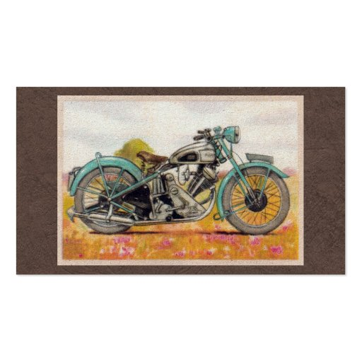 Vintage Aqua Blue Motorcycle Print Business Card Templates