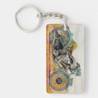Vintage Aqua Blue Motorcycle Print Keychain