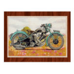 Vintage Aqua Blue Motorcycle Print Postcard