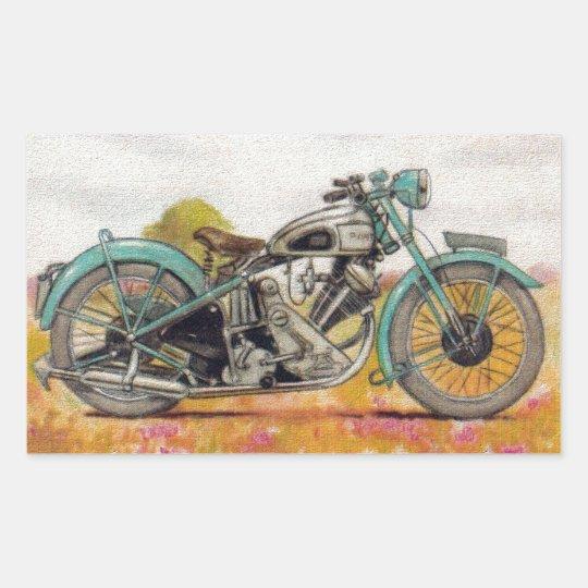 Vintage Aqua Blue Motorcycle Print Rectangular Sticker