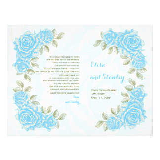 Vintage aqua blue roses wedding folded program flyer