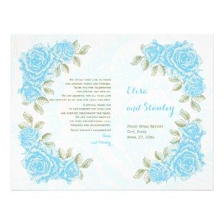 "Vintage aqua blue roses wedding folded program 8.5"" x 11"" flyer"