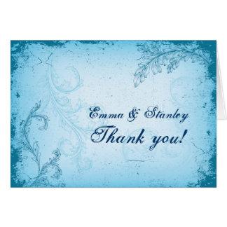Vintage aqua blue scroll leaf wedding Thank You Card