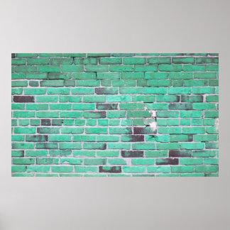 Vintage Aqua Brick Wall Texture Poster