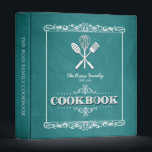 "Vintage Aqua Chalkboard Family Cookbook Binder<br><div class=""desc"">A fun,  vintage chalkboard look for this personalized family cookbook binder.</div>"