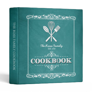 Vintage Aqua Chalkboard Family Cookbook Binder