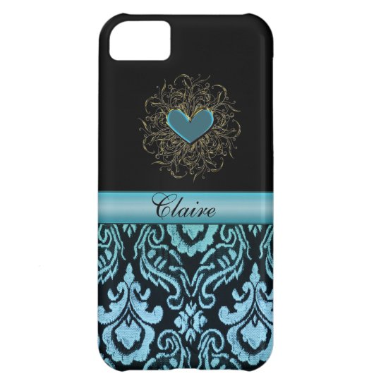 Vintage Aqua Damask with Heart Personalized Case