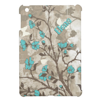 Vintage aqua flowers beige, taupe floral iPad mini cases