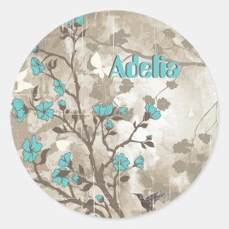Vintage aqua flowers floral grunge custom classic round sticker