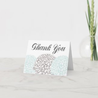 Vintage Aqua Flowers Thank You Greeting Card
