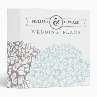 Vintage Aqua Flowers Wedding Planner Binder