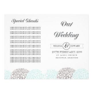 Vintage Aqua Flowers Wedding Program Booklet