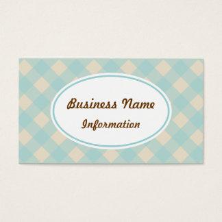 Vintage Aqua Gingham Business Card
