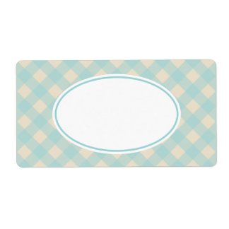 Vintage Aqua Gingham Labels