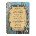 Vintage Aqua Gold Old Barn Wood Vine Swirl Wedding Cards