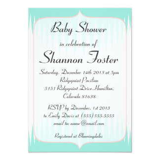Vintage Aqua Green Spikes Baby Shower Invitation