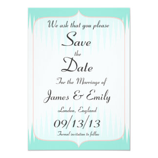 Vintage Aqua Green Spikes Save The Date Notice Card