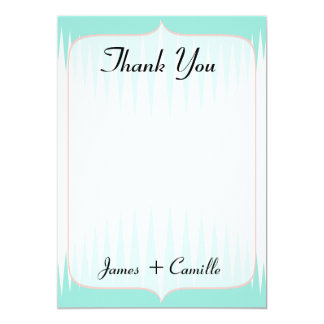 Vintage Aqua Green Spikes Thank You Card / Note