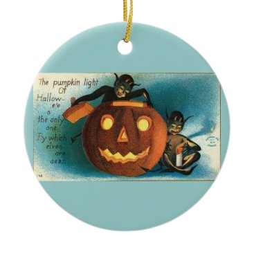 Halloween Themed Vintage Aqua Halloween Ceramic Ornament