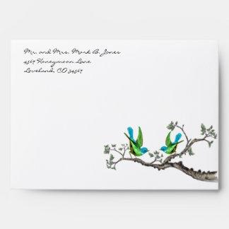 Vintage Aqua Lime Love Birds Envelopes