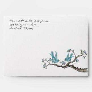Vintage Aqua Love Bird Hot Pink Blooms Envelopes