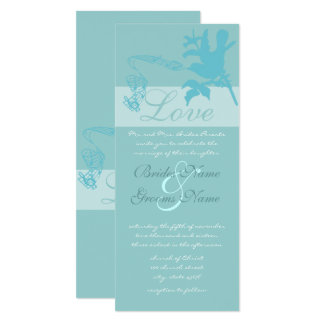 Vintage Aqua Love Bird  Wedding Invitation