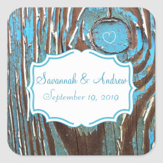 Vintage Aqua Old Barn Wood Save the Date Seal Square Sticker