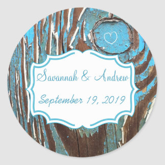 Vintage Aqua Old Barn Wood Save the Date Seal Round Stickers